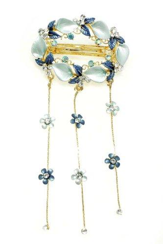 Blue Floral Wreath Barrette Hair Clip with Dangles [Apparel]