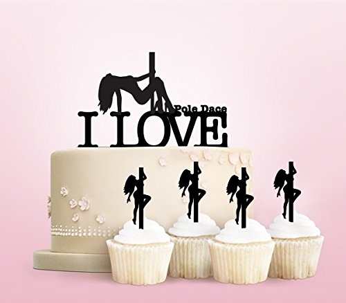 TC0194 I Love Pole Dance Girl Party Wedding Birthday Acrylic Cake Topper Cupcake Toppers Decor Set 11 pcs by jjphonecase (Image #1)