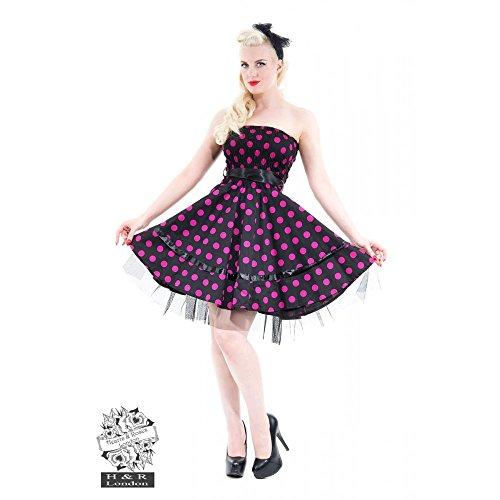 H & R London Bandeau vestido Big Dots Dress Black de color rosa Black-Pink
