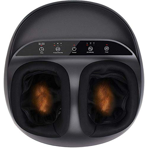 RENPHO Foot Massager Machine with Heat, Shiatsu Deep Kneading, Multi-Level Settings, Delivers Relief for Tired Muscles and Plantar Fasciitis, Fits feet up to Men Size 12