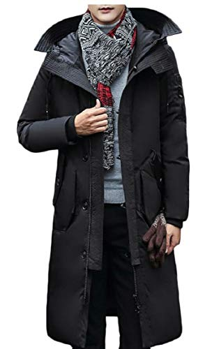 Thicken Black Long Men's Jacket Hooded Zipper Down Coat security Warm Puffer vUwXqvH