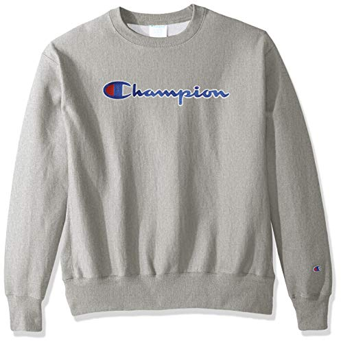 Champion LIFE Men's Reverse Weave Sweatshirt, Oxford Gray/CHAINSTITCH Script, Medium ()