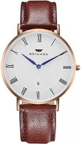 BRIGADA Men's Watches Classic Rose Gold Business Casual Wrist Watch for Men Quartz Waterproof Swiss Brand.