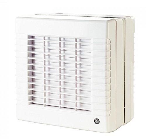Abluftventilator 125mm fü r Fenstermontage, mit Hygrostat, Nachlauf-Timer und elektrischem Innenverschluss SKS24