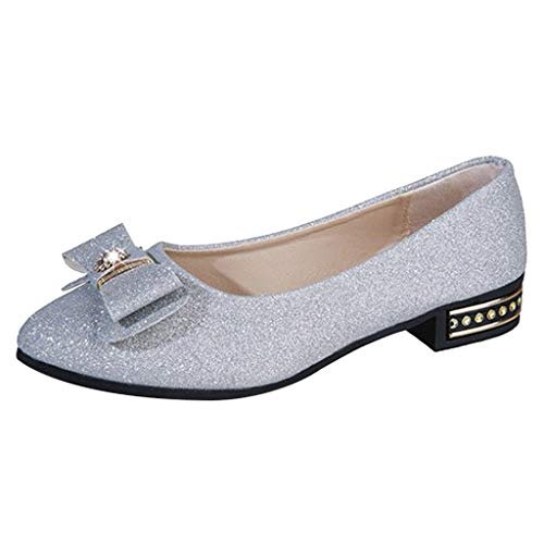 Nadition Women's Fashion Sequins Flat Bottom Single Shoes Ladies Casual Solid Butterfly-Knot Point Toe Ballet Shoes Silver
