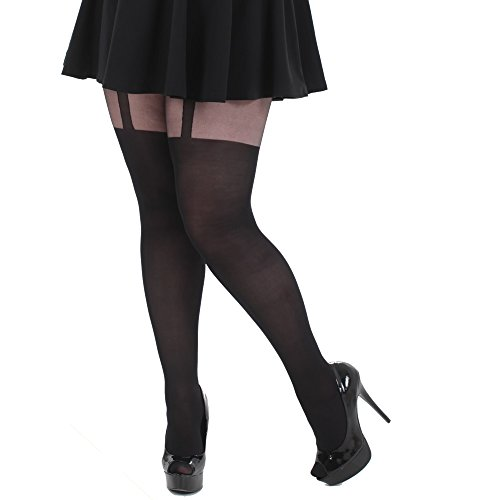 Plus Size Mock Suspender Tights XL to 3x