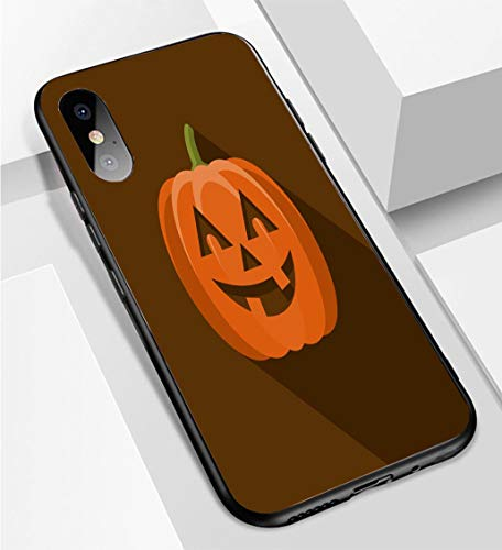 iPhone X/XS Ultra-Thin Phone case Jack O Lantern Flat Design Halloween Icon with Side Shadow Anti-Drop Anti-Slip Soft Convenient Protective -
