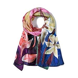 Invisible World Pañuelo de Seda Mujer Pintado a Mano Flores | DeHippies.com
