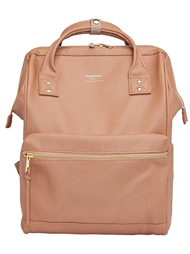 Kah&Kee Leather Travel Notebook Backpack Laptop School Diaper Bag for Women Man (Pink) by Kah&Kee