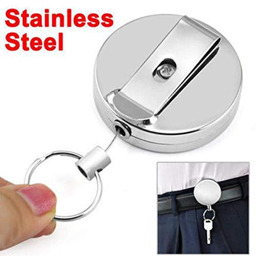 ♛Euone Wine Stopper ♛Clearance♛, Metal Retractable Pull Chain Reel ID Card Badge Keychain Holder Recoil Belt Clip