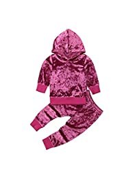 GoodFilling Toddler Baby Girls Velvet Long Sleeve Hoodie Top+Pants Outfits