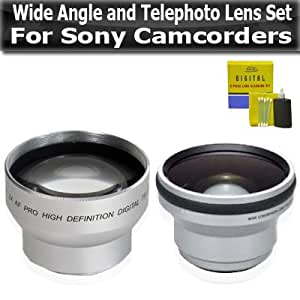 37mm Hi Definition .45X Wide Angle and 2X Telephoto Lens Set For Sony Camcorders HDR-XR550V HDR-CX500V HDR-CX520V HDR-CX550V HDR-CX130 HDR-CX160 HDR-CX360V HDR-CX560V HDR-CX700V HDR-XR160 Camcorder