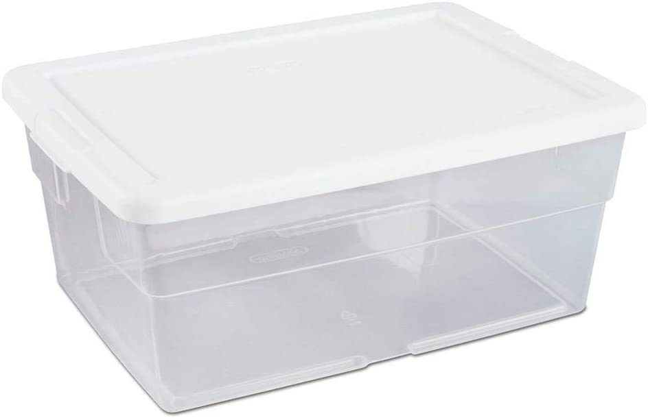 Sterilite 16 Quart Multi-Purpose Clear Plastic Stacking Closet Storage Box Container Bin with Durable Latching Lid and Handles (36 Pack)