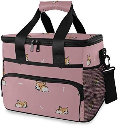 Pranzo al sacco per ragazze Corgi Butt Cartoon Pranzo al sacco unico Pranzo al sacco con tracolla regolabile per picnic picnic Bbq Beach