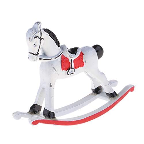 SM SunniMix 1/12 Dollhouse Miniature Metal Rocking Horse Nursery Furniture Model Toy