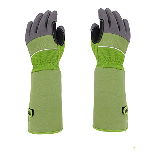 (Professional Long Gardening Gloves Women Rose Pruning Gloves, Pink Beautiful Thorn Proof Garden Gloves with Long Canvas Sleeves for Flower Planting, Pruning YLST12 (Green))