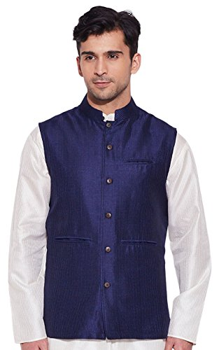 Men Sleeve Less Designer Faux Silk Nehru Jacket Casual Wear Plain Waistcoat
