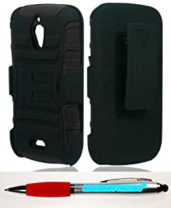 Accessory Factory(TM) Bundle (the item, 2in1 Stylus Point Pen) Huawei Vitria H882L Magna Hybrid H Stand Holster Black Case Cover Protector