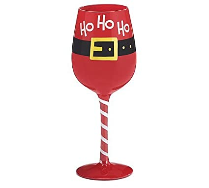 ho ho ho christmas wine glass wine glass goblet holiday festive - Wine Christmas
