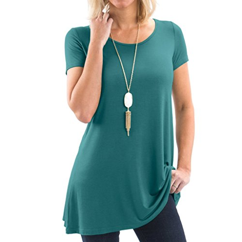 (Posh Women's Short Sleeve Boatneck Tunic with Symmetrical Hem - Super Soft Loose Fit T-Shirt Tunic Top, Perfect Casual Blouse for Leggings & Jeans- Medium - Teal)