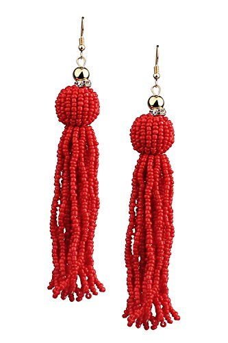 Mina Gold Handmade Beaded Urchin Statement 5.2 Inch Drop Extra Long Tassel Shoulder Duster Red Earring