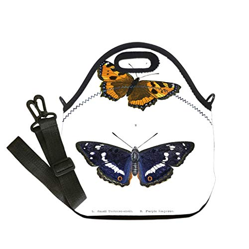 Custom Digital Printing Insulated Lunch Bag,Neoprene Lunch Tote Bags British Butterfly Illustrations Hand Coloured Engraving custom Stylish Lunch Bag, Multi-use for Men, Women and ()