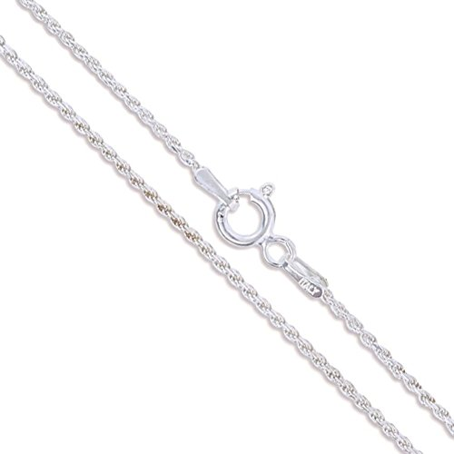 - Sterling Silver Diamond-Cut Rope Chain 1.1mm Solid 925 Italy New Necklace 18