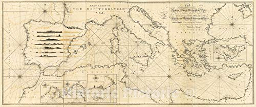 Historic 1797 Map - A New Chart of The Mediterranean Sea 86in x 36in