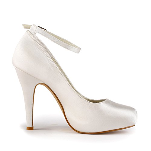 ElegantPark EP11049-IP Mujer Satén Tira De Tobillo Punta Chiusa Bombas El tacón Alto Plataforma Zapatos De Boda Ivoire