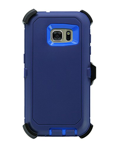 WallSkiN Turtle Series Cases for Samsung Galaxy S7 (Only) Tough Protection with Kickstand & Holster - Midnight (Navy Blue/Blue)