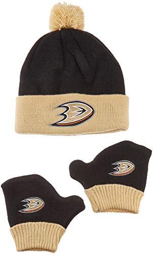 OTS NHL Anaheim Ducks Pow Knit Cap & Mittens Set, Black, -