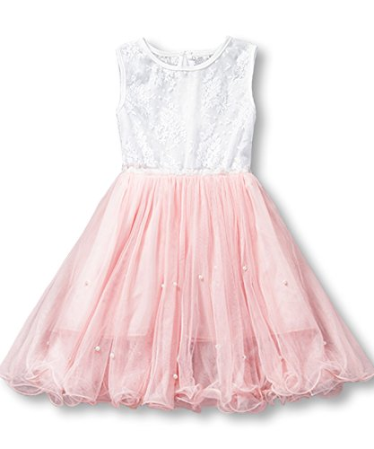 NNJXD Girl Tutu Princess Tulle Casual Party Dress Size(110) 1-2 Years Pink ()