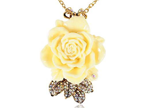 Alilang Antique Golden Tone Cream Vintage Rose Flower Leaf Bow Pendant Necklace ()