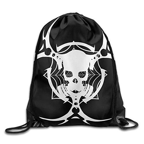 Linkaprk Minimalism Skull Gas Masks Biohazard Black Background Drawstring Pack Beam Mouth Gym Sack Shoulder Bags for Men & Women