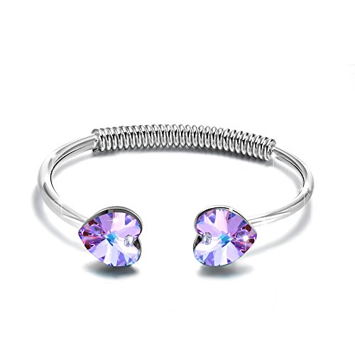 "GEORGE SMITH Charm""Enchanted Heart"" Womens Bangle Bracelets with Swarovski Crystal Amethyst Bracelet Jewelry Birthday Gifts for (Swarovski Crystal Bracelet Designs)"