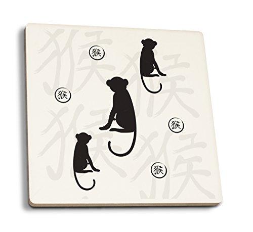 Silhouette - Monkey Pattern - Black (Set of 4 Ceramic Coasters - Cork-Backed, Absorbent)