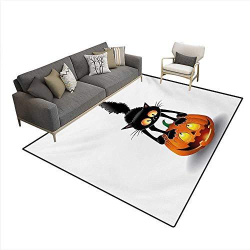 (Carpet,Black Cat on Pumpkin Drawing Spooky Cartoon Characters Halloween Humor Art,Indoor Outdoor Rug,Orange)
