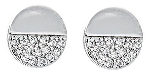 (Disk Half CZ Embellished Studs 925 Sterling Silver Women's Chic Asymmetric Post Earrings)