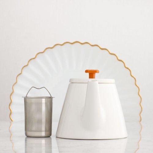 Ceramic Teapot, White, 28 Fl Oz