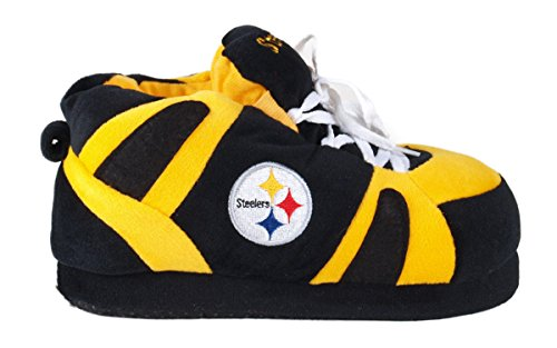 Womens Feet OFFICIALLY Sneaker and Slippers LICENSED Happy Steelers Mens Comfy Pittsburgh NFL Slippers Feet wSqxBEtS10