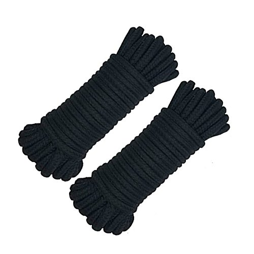 Soft Twisted Cotton Rope, 64-Foot (Pack of 2 x32-foot,20m), 1/3 of an inch(8mm) Thickness Cotton Camping Clothes Line,General Use Cord by Yitongxing (2 Black)