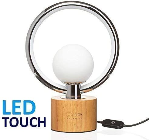 LEDGloriole Modern Desk Lamp with Unique Shade – Bedroom Lamps with Natural  Wooden Base – Luxury Bedside Nightstand Dimmable Lamp – Well-Designed LED  ...