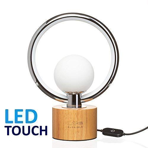 (Modern LEDGloriole Desk Lamp with Unique Shade – Bedroom Lamps with Natural Wooden Base – Luxury Bedside Table Lamp – Well-Designed LED Light Perfect for Bedroom or Office)