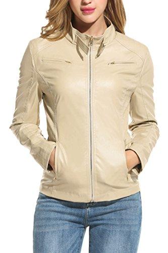 HOTOUCH Womens PU Leather Tan Moto jacket Khaki XL (Tan Jacket Dress)