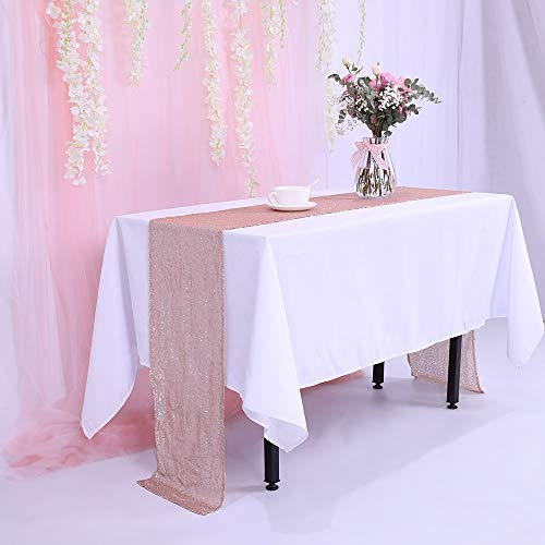 BalsaCircle TRLYC 12x90-Inch Sparkly Champagne Sequin Table Runner for Wedding Happy New Year-Champagne