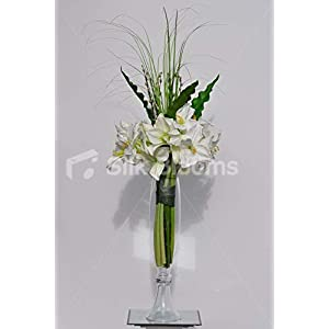 Silk Blooms Ltd Artificial Fresh Touch White Amaryllis and Curly Leaf Floral Arrangement w/Curved Grass and Glass Vase 8