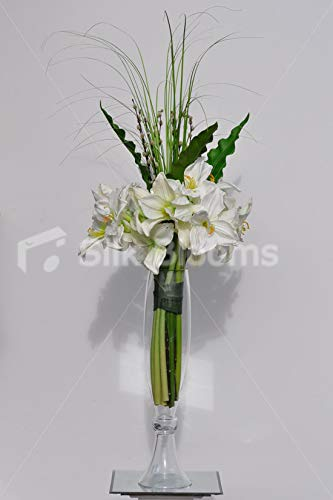 Silk-Blooms-Ltd-Artificial-Fresh-Touch-White-Amaryllis-and-Curly-Leaf-Floral-Arrangement-wCurved-Grass-and-Glass-Vase