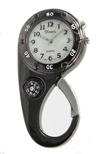 Clip on Watch Bag Pocket Watch W/compass & Back Light- Gun ()