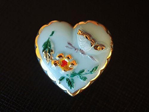 Czech Glass Button Heart, hand painted, size 10'', 23mm, -