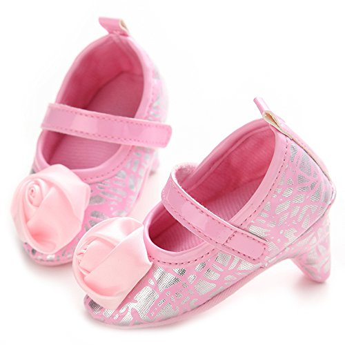 ICOOLTECH Newborn Baby Girls High Heels Shoes Bowknot Soft Sole Crib Shoes (6-12 M, Pink Rose)